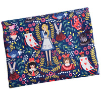 140cm Width Alice Wonderland Fairy Tale Cotton Canvas Print Fabric by the Yard