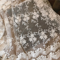 125cm Width Soft Tulle Vine Floral Embroidery Lace Fabric by the Yard