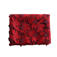125cm Width x 95cm Length Premium Red Hollow out Chemical  Floral Lace Embroidery Fabric