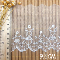 4.5 Yards of 9.6cm Width Premium Rabbit Floral Embroidery Tulle Lace Trim Frill Lace