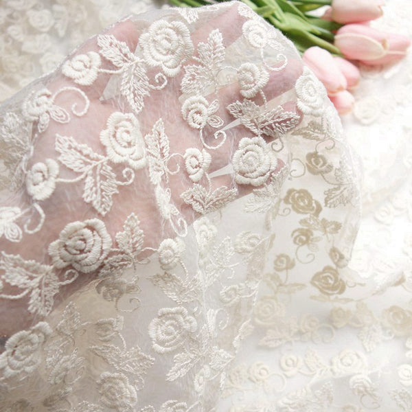 132cm Width x 95cm Length Premium Rose Floral Embroidery Organza Lace Fabric