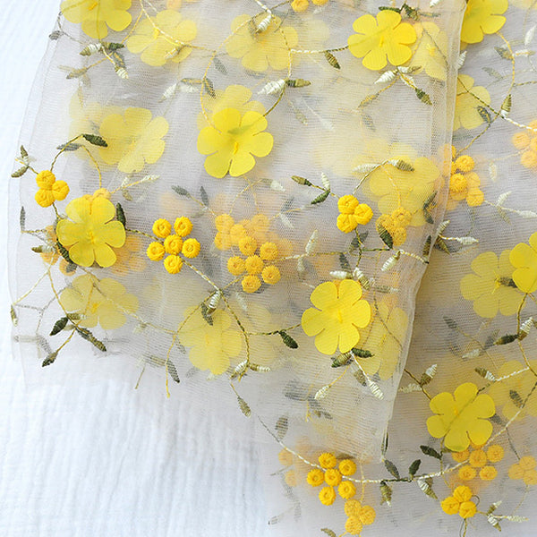 130cm Width Yellow 3D Flower Chiffon Embroidery Lace Fabric by The Yard