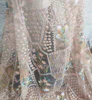 130cm Width x 95cm Length Luxury Sequined Botanical Floral Embroidery Lace Fabric