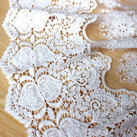 51cm Width x 90cm Length Retro Water Soluble Floral Embroidery Tulle Lace Fabric