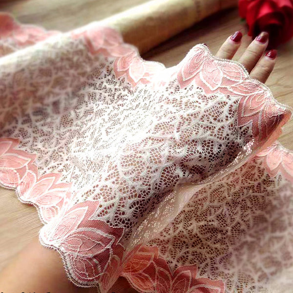 23cm Width x 180cm Lenth Leaf Embroidery Lace Fabric Trim