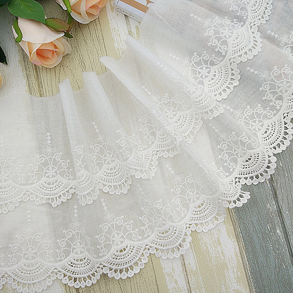 20cm Width x 180cm Length 2-Layer Floral Embroidery Cotton Lace Fabric Trim