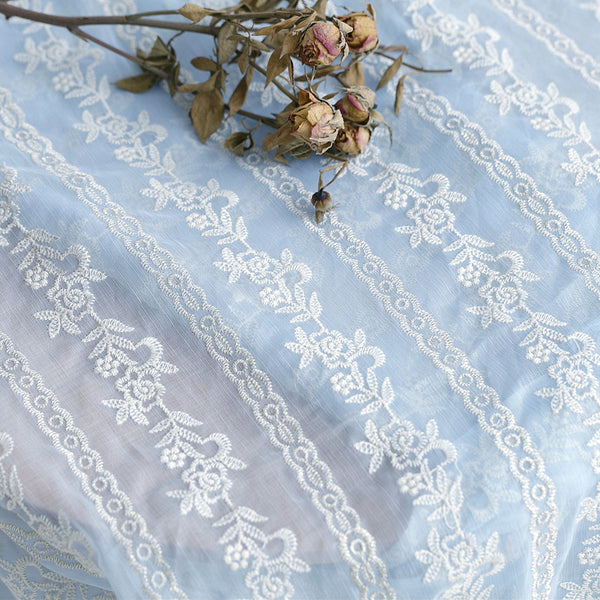 130cm Width Chiffon Floral Embroidery Fabric by the Yard