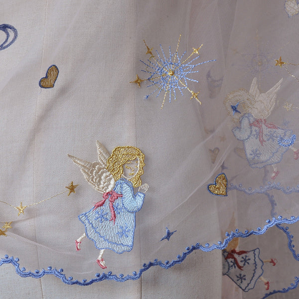 145cm Width x 95cm Length Premium  Angels  and Stars  Embroidery Lace Fabric
