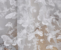 130cm Width Three-dimension Butterfly Embroidery Lace Fabric by the Yard