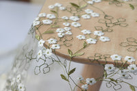 130cm Width Vintage Branch Floral Embroidery Lace Fabric by the Yard
