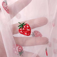 140cm Width x 95cm Length Strawberry Embroidery Tulle Lace Fabric