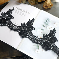 15cm Width x 180cm Length Vintage Water Soluble Floral Embroidery Lace Fabric Trim Applique