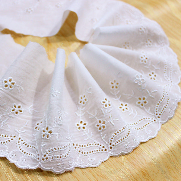 9cm Width x 270cm Length Premium Eyelet Floral Embroidery Cotton Lace Fabric Trim