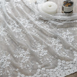 53 inches Width Branch Flowers Embroidery Cotton Lace Fabric by The Yard