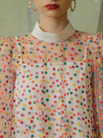 160cm Width Length Colorful Polka Dot Tulle Lace Fabric by the Yard