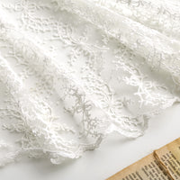 125cm Width Length Botanical Flower Pattern Embroidery Lace Fabric by the Yard