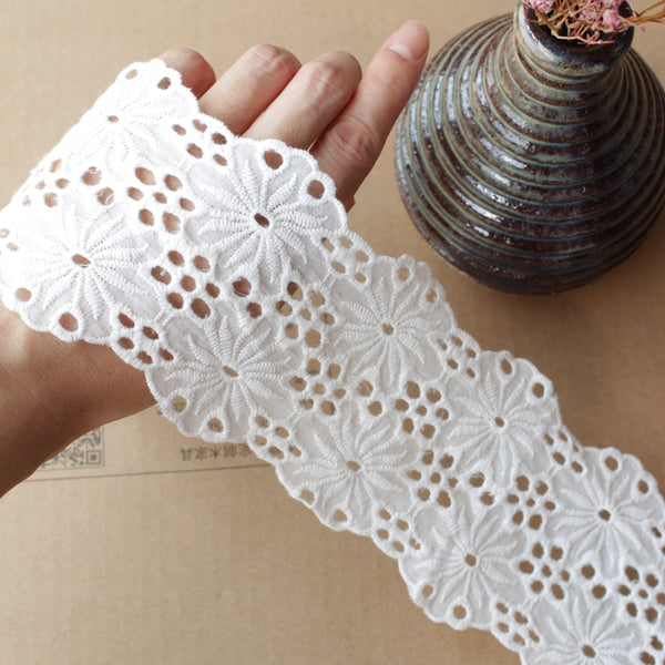 8cm Width x 270cm Length Poppy Flower Embroidery Eyelet Cotton Lace Fabric Trim