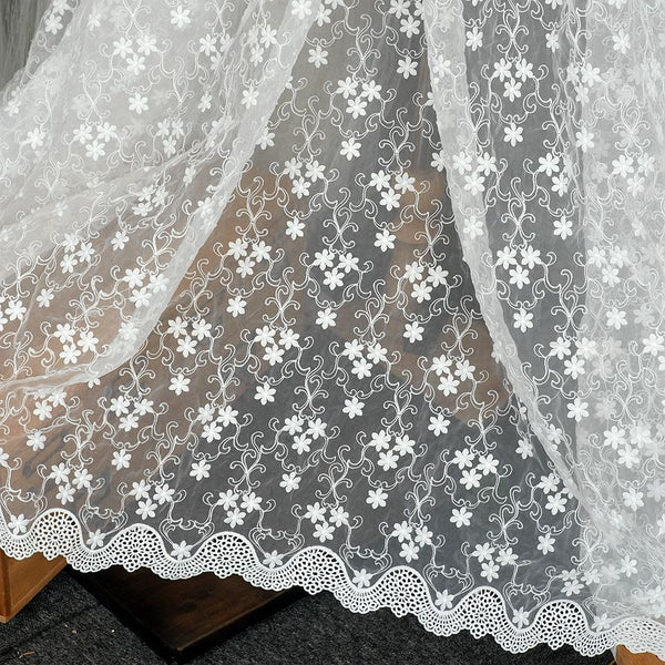130cm Width x 95cm Length Organdy Floral and Vine Embroidery Lace Fabric