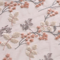 130cm Width Vintage Floral Embroidery Sequin Wedding Lace Fabric by the Yard