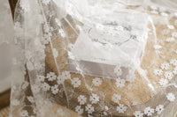 140cm Width 4-Leaf Clover Embroidery Tulle Lace Fabric by the Yard
