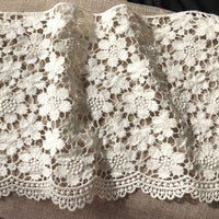 2 Yards of 21cm Width  Hollow-out Floral Pattern Embroidery Cotton Lace Embellishment Lace