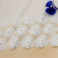 2 Yards of 34cm Width Cut Out Poppy Floral Embroidery Eyelet Lace Fabric Sewing Trim