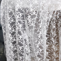 130cm Width Vine Branch Floral Embroidery Lace Fabric by the Yard