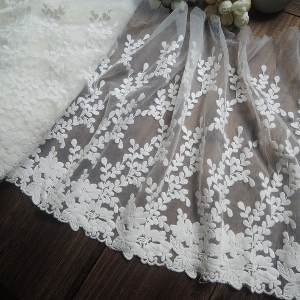2 Yards of 32cm Width Vivid Floral and Branch Embroidery Lace Fabric