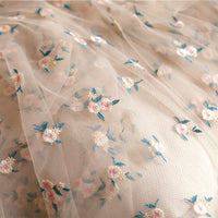 130cm Width Vintage Floral Tulle Embroidery Lace Fabric Pink