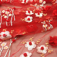 135cm Width x 95cm Length Premium Vivid 3D Flowers and Floral Embroidery Lace Fabric