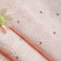 140cm Width Daisy Floral Embroidery Jacquard Cotton Fabric by the Yard