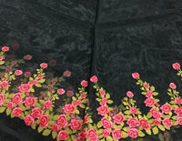 130cm Width x 90cm Length Rose Floral Embroidery Organza Lace Tulle Lace Fabric