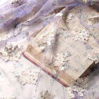 125cm Width Light Purple Floral Embroidery Tulle Lace Fabric by the Yard