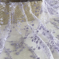125cm Width x 95cm Length Rigid Tutu Skirt Floral Embroidery Lace Fabric Light Purple