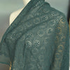 110cm Width x 95cm Length Vintage French Style Hollow-out Circles Geometric Floral Embroidery Lace Fabric Dark green