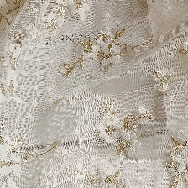 140cm Width x 95cm Length Premium Polka Dot  Golden Line Branch Flowers Embroidery Lace Fabric