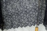 150cm Width Premium Hollow-out Abstract Floral Embroidery Eyelash Lace Fabric