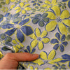 145cm Width x 95cm Length Premium Double Layer Blue and Yellow Floral Jacquard Fabric