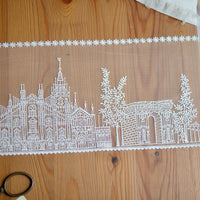 15cm Width Castle Embroidry Polyester Lace Fabric Trim by The Yard
