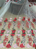 130cm Width Heavy Color Cluster Floral Embroidery  Tulle Lace Fabric by the Yard