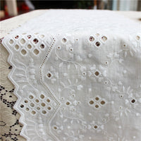 2 Yards of 10 inches Width Vintage Cotton Floral Vine Embroidery Eyelet Sewing Lace Fabric Trim