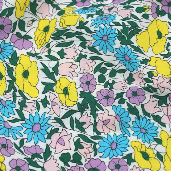 147cm Width x 90cm Length Colorful Flowers Cotton Print Fabric