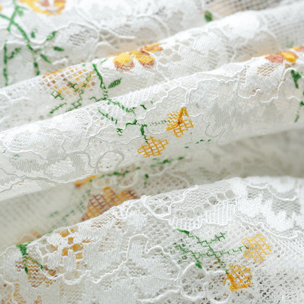 150cm Width Embroidery Tulle Lace Fabric with Flower Print by the Yard