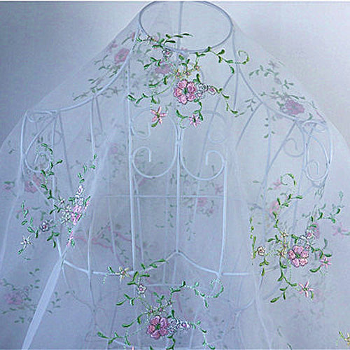 130cm Width x 95cm Length Vine Branch Floral Embroidery Organdy Lace Fabric