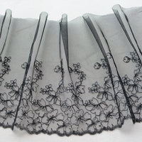 23cm Width x 270cm Length Abstract Cherry Blossom Floral Embroidery Lace Fabric Trim (Black)