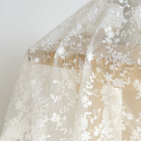 53 inches Width Premium Vine Floral Embroidered Organza Lace Fabric by The Yard