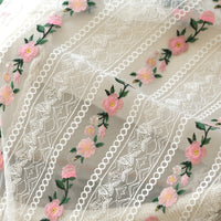130cm Width Colorful Floral Embroidery Strip Pattern Haute Couture Lace Fabric by The Yard