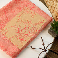 150cm Width x 95cm Length Premium Orange Red Floral Embroidery Lace Fabric