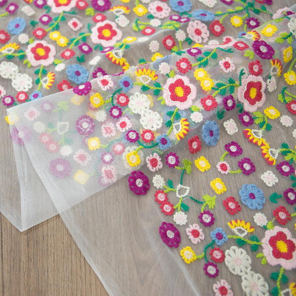 130cm Width x 95cm Length Premium Pastoral Colorful Flower Embroidery Lace Fabric