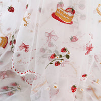 130cm Width Strawberry and Flower and Birthday Cake and Bowtie Embroidery Lace Fabric by the Yard
